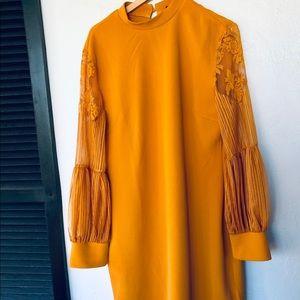 SHEIN Burnt Mustard Shift Dress Plus Size 2XL